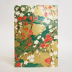 Japanese Yuzen Washi Card Holder - Plum Flower & Flowing Water Dark Green Japanese Minimalism, Oyster Card, Plum Flowers, Travel Cards, Japanese Patterns, Unique Cards, Printed Bags, Japanese Culture, Card Holders