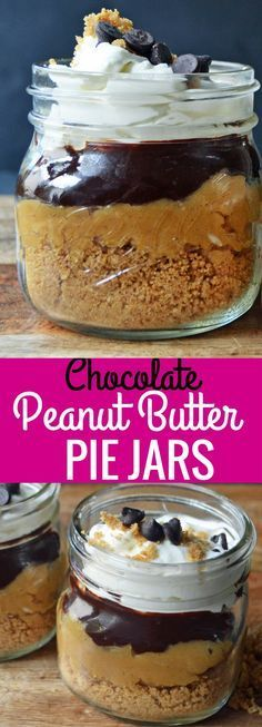 Chocolate Peanut Butter Cream Pie Jars. Graham Cracker Crust, Peanut Butter Cream, Chocolate Ganache, and Whipped Cream all in one jar.  The chocolate peanut butter lovers will go crazy over this dessert! Pie in a jar is so easy! www.modernhoney.com #desertsfoodrecipes