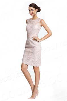 Latest Sheath-Column Jewel Natural Knee Length Lace Pink Sleeveless Zipper And Buttons Party Dress with Sashes COWK14001