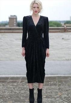 Gothic Black Velvet Dress  £30