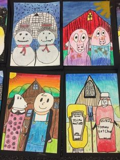 """Grade artists had fun learning about the artwork by grant wood, """"american gothic."""" we also watched the video, """"dropping in on grant wood. Grant Wood, Classroom Art Projects, School Art Projects, Art Classroom, Arts And Crafts For Teens, Art And Craft Videos, Jamestown Elementary, Upper Elementary, Third Grade Art"""
