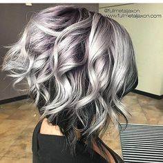 Hairstyles for silver hair hottest curly lob hairstyle silver to black hair color messy 2018 long hair trends, Hairstyles For Silver Hair, brilliant Trendy Hair Cuts inspiration Curly Lob, Curly Hair Styles, Updo Curly, Curly Short, Hair Color For Black Hair, Black And Silver Hair, Black Hair Going Grey, Grey Hair With Dark Roots, Silver Ombre Short Hair