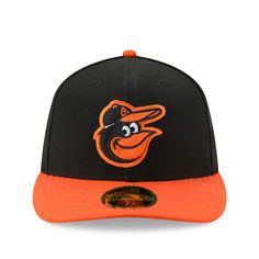 Men's Baltimore Orioles New Era Black/Orange Road Authentic Collection On-Field Low Profile 59FIFTY Fitted Hat