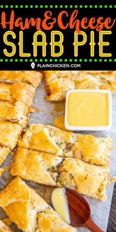 Ham & Cheese Slab Pie - Only a few simple ingredients - ham, swiss cheese, cream cheese, honey mustard, and puff pastry. Can make in advance and freeze Cheese Puffs, Ham And Cheese, Swiss Cheese, Entree Recipes, Pork Recipes, Cooking Recipes, Slider Recipes, Sandwich Recipes, Chicken Recipes