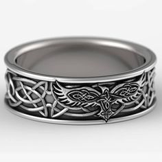 Sterling Silver Celtic Raven Ring, Raven Wedding Band, Mens Wedding Band, Irish Wedding, Raven Jewelry, Celtic Knot Ring, Custom Size 1161