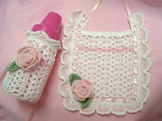 Baby Rose Bib and Baby Bottle Cover - Crochet Thread.