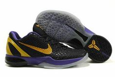 Air Foamposite Nike Zoom Kobe 6 Black Purple Yellow  Nike Zoom Kobe 6 - It  uses a below ankle cut. Zoom Air cushioning and a molded heel are carried  over ... 8c3c85179af8