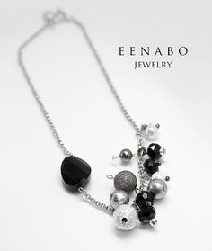 Black and Silver Shell Pearl Cotton Pearl and Faceted by EENABO, $79.00