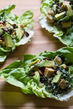 Vegan Caesar Lettuce Wraps with quinoa, kale and  tofu