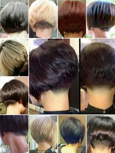 Further collage of options for the back of short/bobbed hairstyles. Originally uploaded maybe 2 years ago but lost after I closed my Pinterest account and lost data on my PC.