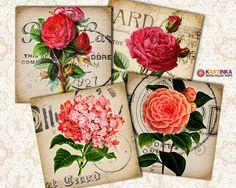 VINTAGE SHABBY FLOWERS  38x38 inch Digital Collage by KARTINKAshop, $4.50