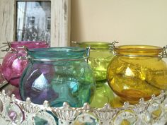 Round Hanging Glass Tea Light Holder Candle Jar Bowl Lantern Garden Decoration