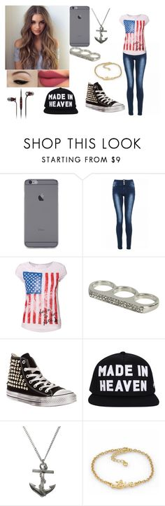 """""""Clarissa C."""" by pamela-gecko-winchester ❤ liked on Polyvore featuring Quiz, Anatomy Of, Wet Seal, Converse, Belle Noel by Kim Kardashian and Sennheiser"""