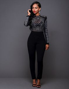 a1ddac022c6 Hot Drilling Long Sleeve High Neck Long Jumpsuits Jumpsuit Dressy
