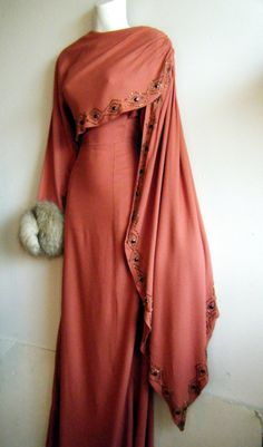 Lovely, fox-trimmed, 1940's gown