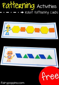 These hands-on patterning activities suit preschool and kindergarten math centers. The free patterning cards help kids make patterns using pattern blocks. Numeracy Activities, Kindergarten Math Activities, Kindergarten Centers, Preschool Learning Centers, Preschool Education, Hands On Learning Kindergarten, Math Activities For Preschoolers, Cognitive Activities, Preschool Curriculum