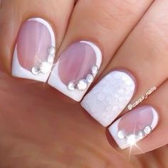 french tip & jewels nail art designs