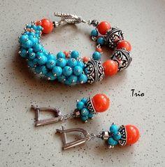 Комплект Аква мандарина - яркие украшения,яркий браслет,яркие серьги,серьги с кораллом