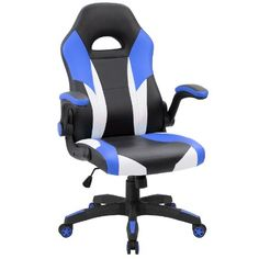 Amazing offer on JUMMICO Gaming Chair Ergonomic Leather Racing Computer Chair High Back Adjustable Swivel Executive Office Desk Chair Flip-Up Armrest (Blue) online - Shopallshopping Office Gaming Chair, Executive Office Desk, High Back Office Chair, Swivel Office Chair, Executive Chair, Desk Chair, Chaise Gaming, Rocking Chair Nursery, Nursery Chairs