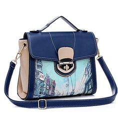 Fashion Contrast Color PU Top Handle/Shoulder/Cross Body Bags For Casual Occation – EUR € 29.60
