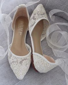 Hottest Wedding Shoes Trends 2018 For Brides IVORY CROCHET LACE Pointy Toe with Sheer Organza Ballerina Lace UpShop our collection of women flats and heels in satin, glitter and lace! Great selections shoes for brides, Types Of Gowns, Pointy Toe Flats, Wedding Dress Trends, Wedding Ideas, Ballerinas, Comfortable Shoes, Comfy Shoes, Womens Flats, Me Too Shoes