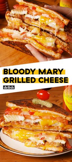 Bloody Mary Grilled Cheese = Heaven Sent Hangover CureDelish (I'll try this without bacon, on Jan, US Bloody Mary Day. Sandwich Bar, Tea Sandwiches, Roast Beef Sandwich, Soup And Sandwich, Sandwich Ideas, Gourmet Sandwiches, Healthy Sandwiches, Bo Bun, Grilled Cheese Recipes