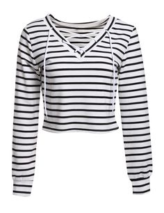 Women Casual Lace Up V-Neck Long Sleeve Striped Crop Blouse Tops