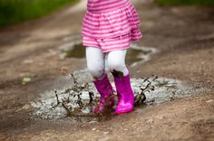 """Alana always says... """"Can I put on my rain boots and jump in the muddy puddles Mommy?"""" Love that girl!"""