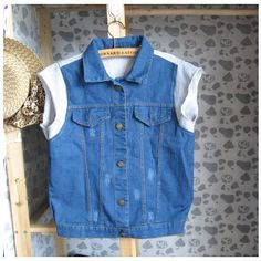 Wei cloth stitching denim vest vest