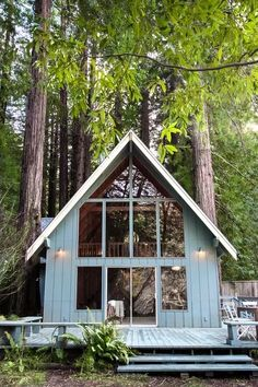 small lake cabins, small lake houses, tiny cabins, a fram Small Lake Cabins, Small Lake Houses, River Cabins, Tiny Cabins, A Frame Cabin, A Frame House, Lake Cabin Interiors, Tiny House, Blue Siding