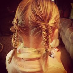 #fishtail braids #pigtails #toddler hair style..if only my daughter would sit long enough of this!