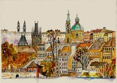 Prague Painting Inspiration, Art Inspo, Prague Czech Republic, Illustration Art, Illustrations, Urban Sketching, Pretty Pictures, Painting & Drawing, Collages