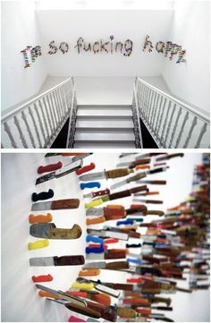 """I'm So Fucking Happy"" perrotin.com Approximately 1,200 knives. By Farhad Moshiri."