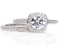 Moissanite Wedding Set Engagement Ring Wedding Band Cathedral Diamond Halo 14K Conflict Free Diamond Alternative Custom Bridal Jewelry via Etsy