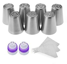 YUYIKES Russian Piping Tips Set Icing Tips Cake Decorating set 19 pcs Large 7 Piping Nozzles FREE 10 Bags 2 Coupler Cake Piping Icing Nozzles 304 Stainless Steel Best Baking Supplies 19 -- Click image for more details.