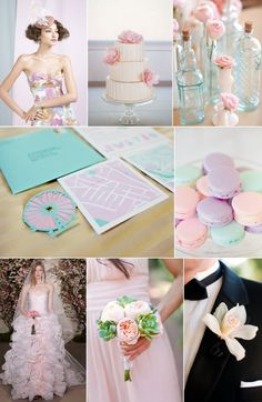 Pretty pastel wedding color palette for a romantic spring or summer wedding