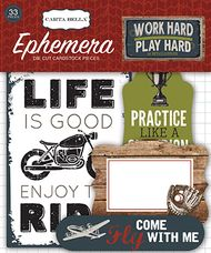 Work Hard, Play Hard Collection 4 x 6 Ephemera Die Cut Scrapbook Embellishments by Carta Bella - 33 Pieces