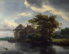 Jacob van Ruisdael - A Cottage and a Hayrick by a River [c.1646-50]