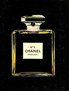 CHANEL No. 5 Perfume Bottle Color Ad Vintage by StillsofTime