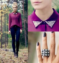 Discover this look wearing Magenta Vero Moda Shirts, Dark Brown Din Sko Shoes, Navy Only Jeans - Pearls by KrisztinaLittleK styled for Chic, Everyday in the Fall Fall Outfits, Cute Outfits, Only Jeans, Facon, Looks Cool, Mode Inspiration, Passion For Fashion, Ideias Fashion, What To Wear