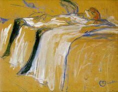 """Henri de Toulouse-Lautrec - """"Alone (Elles)"""" 1896 Oil on cardboard, Musée d'Orsay, Paris"""