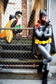 Characters: Robin (Damian Wayne) & Batgirl (Barbara Gordon) / From: DC Comics & DCAU's 'Young Justice' / Cosplayers: Solo Grayson as Robin & Nina Lynn (aka Fawnina, aka Mango Sirene) as Batgirl