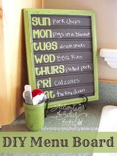 Use inexpensive beadboard, chalkboard paint and your favorite color to create your own menu board via Adventures of a DIY Mom