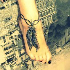 Tatouage cheville plume et rubans - tattoo pied