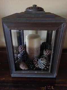 lantern made from dollar store picture frames.  Just Add Some Java.blogspot