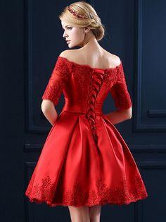 Red Off Shoulder Lace Hem Half Sleeve Lacing Back Prom Skater Dress | WithChic