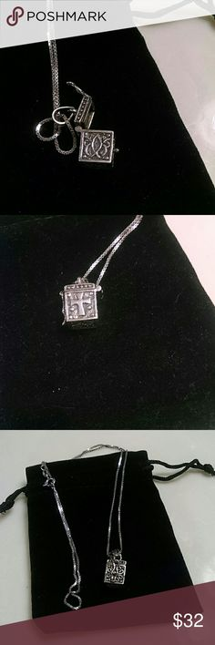 Prayer box necklace Silver, opens to insert prayer. Different symbol on each side Jewelry Necklaces