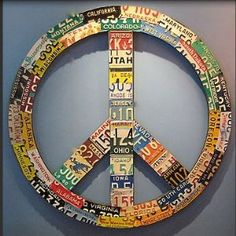 license place decor.  also would like to use as template for peace sign wall collage.