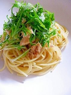 「めんつゆで簡単味付け☆ 水菜とツナの和風パスタ」安価で手頃な食材で作れる節約料理です♪【楽天レシピ】