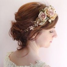 bridal floral headband with swarovski crystals in bronze gold